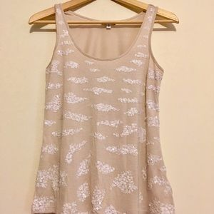 Express cream colored tank with sequin design